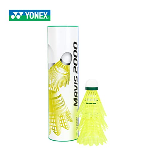 Yonex Mavis 2000 Green Cap Nylon Shuttlecock, Pack of 6 (Yellow)