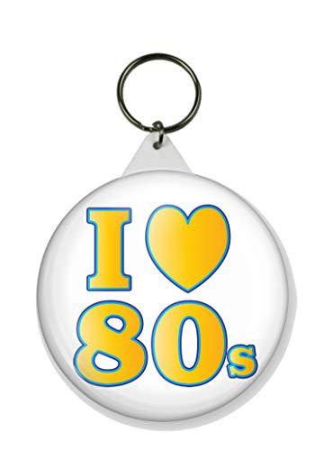 I Loveheart the 80s Round Keyring