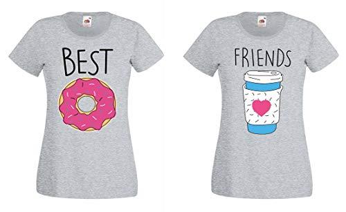 BFF Best Friends Mujer Niñas T-Shirt Pareja Donut Coffee - 1x Camiseta Donut Gris S