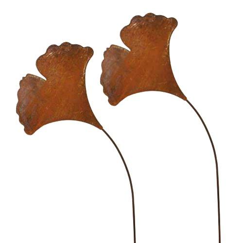 Gingoblatt, Blumenstecker; 58 cm; Metall, Rost; 2 Stück; Beetstecker; Blumenstecker; Gartenstecker