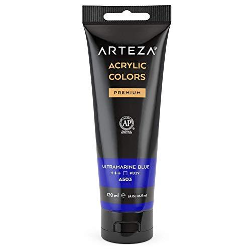 Arteza Pintura acrílica | Color Azul Ultramar | Bolsa individual de 120 mililitros | Pinturas acrílicas para lienzos