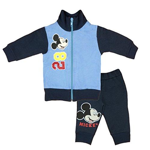 Kleines Kleid Kleines Kleid Jungen Mickey Mouse Sport-Anzug GEFÜTTERT zweiteilig, Sweat-Jacke mit Steh-Kragen und Langer Hose, GRÖSSE 68, 74, 80, 86, 92, 98, 104, 110, Jogging-Anzug, Freizeit-Anzug blau Size 68