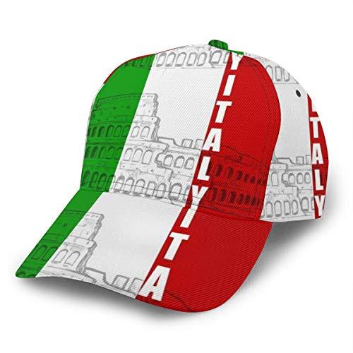 Schirmmütze Italien Italienische Flagge Roman Colosseum Atmungsaktiver Trucker Hut Bequem Snapback Cap Sommer Personalisiert Langlebig Gedruckt Mädchen Hip Hop Mode Papa Hut Junge