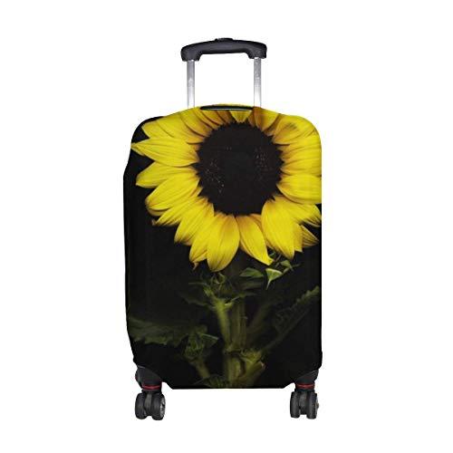 Fondo Negro Girasol con Estampado de Flores Protector de Equipaje de Viaje Funda de...