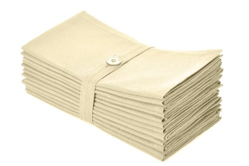 COTTON CRAFT Napkins - 12 Pack Oversized Dinner Napkins 20x20 Ivory - 100% Cotton - Tailored with Mitered Corners and a Generous Hem - Napkins are 38% Larger Than Standard Size Napkins