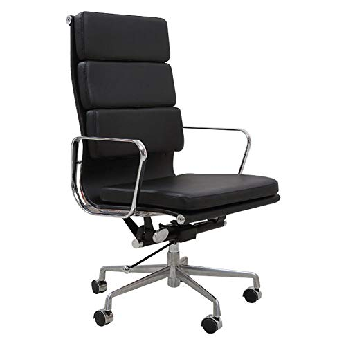 Leather Office Chair, Ergonomic Executive with Upholstered Swivel High Capacity Adjustable Height Armrest Chairs 440Lbs for Home Office (Black)