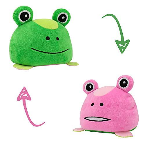 ZoneYan Reversible Plüschtier, Flip Plüschtier, Doppelseitiges Flip Plüschtier, Cute Plush Toys, Plüsch Spielzeug Wende, Doppelseitige Flip Puppe, Double-Sided Reversible Expressions (Frosch)