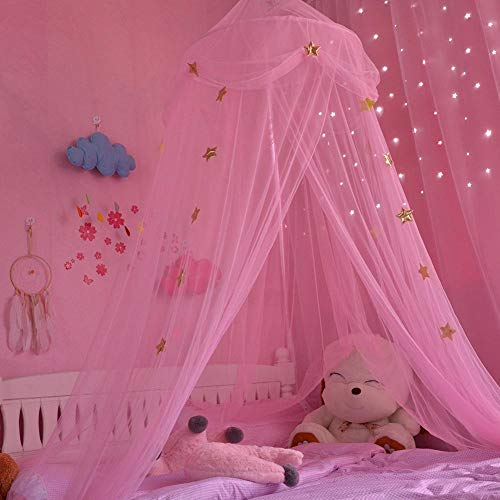 Baldachin für Kinder, Baby Moskitonetz, Fantasie Schmetterlings Prinzessin Wind Mädchen Betthimmel Schlafzimmer Dekoration, 250x65cm