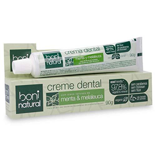 Creme Dental com óleos naturais de Menta e Melaleuca Vegano e Natural, Sem Flúor, Sem Triclosan, Boni Natural, Branco