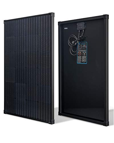 nrgGo 100 Watt Solar Panel Monocrystalline | All Black High Efficiency 100W Solar Panel 12V | Lightweight Portable Solar Panels for RV, Homes, Boat | 12V Solar Panel 100w RV Solar Panels for Homes