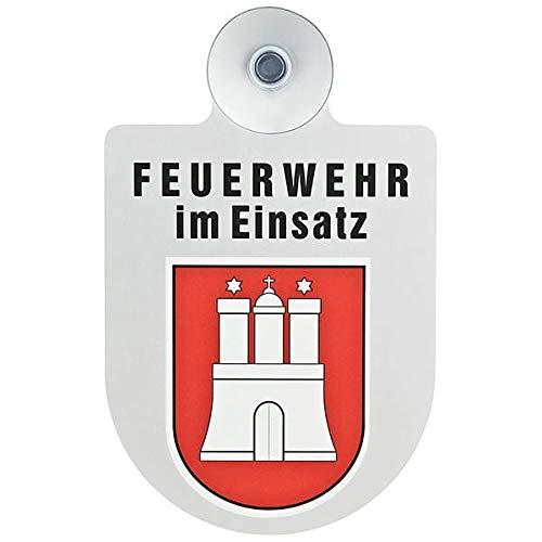 Alu Saugnapf Wappen Schild Feuerwehr im Einsatz mit Wappen Hamburg