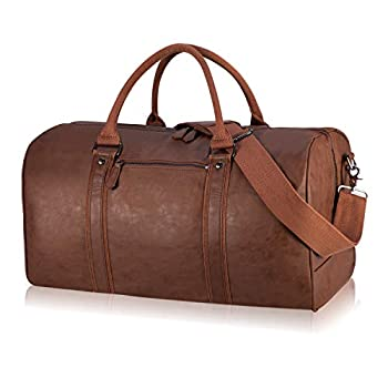 Oversized Travel Duffel Bag Waterproof Leather Weekend bag Gym Sports Overnight Large Carry On Hand Bag-Brown