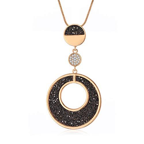 Collana pendente con ciondolo per donna, collana lunga in argento oro con collana nera con diamanti e cristallo per i migliori amici (Disco rotondo, Placcato oro)