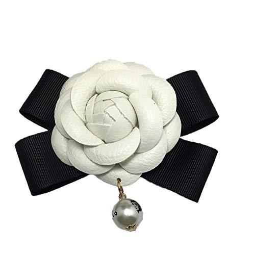 IUwnHceE 1pc Flor De La Camelia DIY Accesorios Phonecase Bowknot Floral 2,4' Cuero De La Vendimia De La Decoración para La Ropa Blanco del Bolso Práctico Electrónica