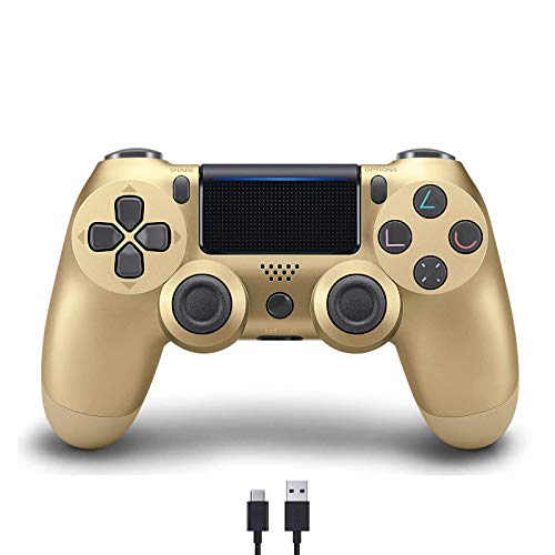 [Upgraded Version] PS4 Controller, Wireless Bluetooth Gamepad with USB Cable for Sony Playstation 4, Gaming Grip Compatible with PS4/Pro/Slim/Windows PC(7/8/8.1/10) (Gold)