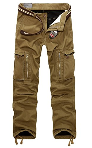 AYG Velour Hose Warm Herren Cargo Pants(army green,34)