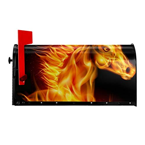 TYHG Standard-Magnet-Briefkasten, Pferdekopf, in Feuerwehr-Optik, buntes Muster