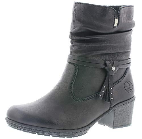 Rieker Damen Stiefeletten Y8850, Frauen Biker Boots, Winterstiefelette Frauen weibliche Ladies feminin elegant Women's,schwarz,39 EU / 6 UK