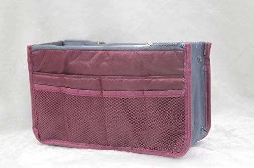 HEE Grand Dames Handtas Organiser Liner Tidy Reizen Cosmetische Pocket Invoegen 12 Zakken Grote Roze Wijn Rood