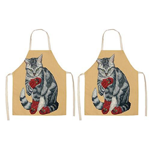 HFQJTU 2 Pack Cool Cat Delantal Ordible a Prueba de Aceite Cocina Cocina Delantales Calidad Profesional 68x55cm para Hombres Mujeres Chef Delantales (Color : 5)