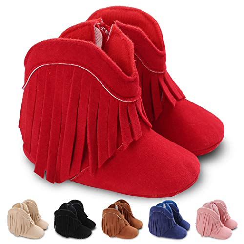 Baby Girls Cowboy Tassel Boots Soft Sole Side Zipper Baby Booties Non-Skid Toddler First Walker Shoes(6-12 Months M US Infant,A-red)