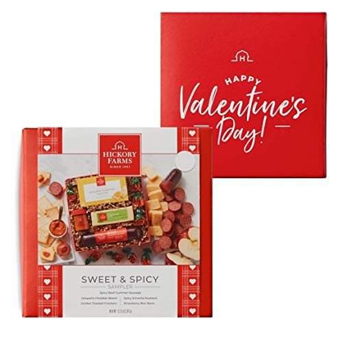 Hickory Farms Sweet and Spicy Valentines Day Sampler with Spicy Beef Summer Sausage, Jalapeno Chedder, Siracha Mustard, Strawberry Bon Bons, and Crackers