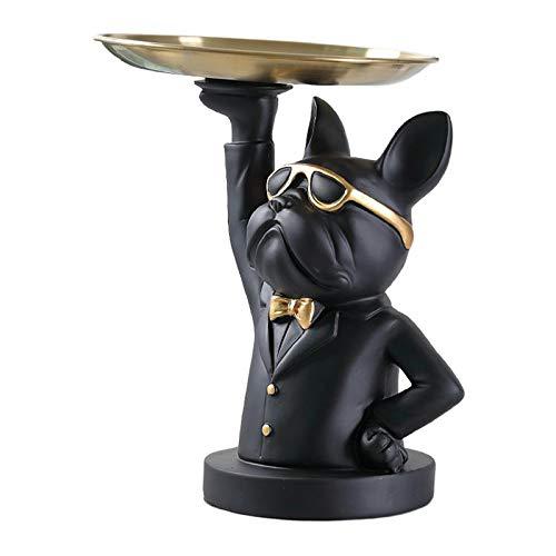 LOVIVER Organizador de Almacenamiento de Escritorio en Forma de Bulldog, Bandeja de Valet Catchall, Organizador de vestidor de mesita de Noche de Dormitorio, Negro