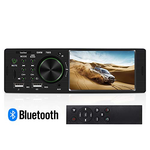 Bluetooth Autoradio mit Freisprecheinrichtung, bedee 4.1 Zoll HD Auto MP5 Player, FM/USB/AUX/SD Digital Media Player, Universal 1 DIN Auto Radio für Rückfahr und iPhone/Android Video Musikspielen