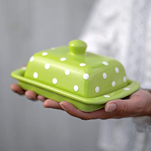 City to Cottage Handmade Ceramic European Covered Butter Dish with Lid | Unique Lime Green and White Polka Dot Pottery Butter Keeper | Housewarming Gift