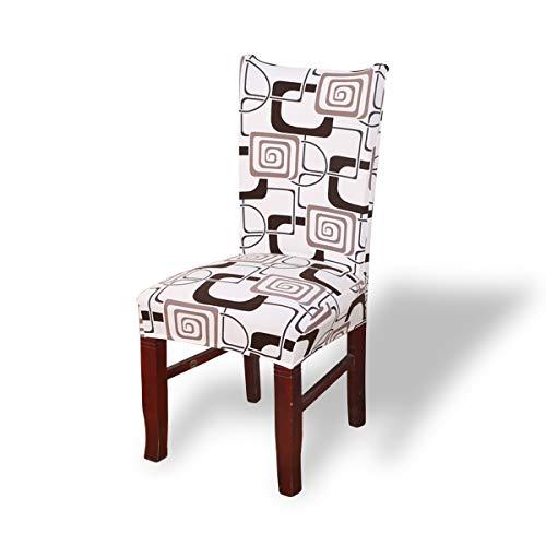Fashion·LIFE Stuhlhussen 2 er Set Bezug für Esszimmerstuhl Elastische Moderne Universell Beschützer waschbar acquard Stuhlhussen Waschbare für Zuhause,Weißes Quadrat