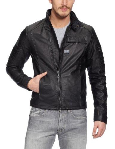 G-Star Herren Jacke Jet MFD Leather JKT - 82003, Gr. 44/46 (XS), Schwarz (Black 990)