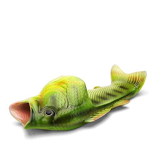 Creative Fish Slippers Man Funny Fish Sandals Men Beach Bass flip Flops Slides (Male 6-6.5)