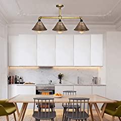 Italian Pub Lighting Vintage Retro Style Steampunk Ceiling Pipe Light Bar with 3 Way Brushed Copper Lamp Shade Pendant Light Fitting Metal Pipe Lighting Ceiling Light Fitting E27 UK #1