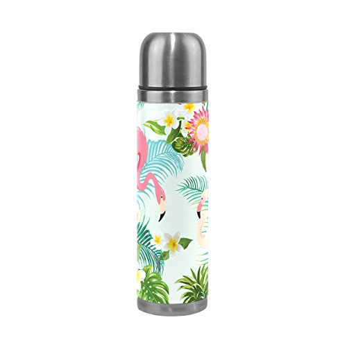 Jstel Tropic Fleur Flamingo Feuille de palmier et de plantes d'eau en acier inoxydable Bouteille isotherme anti-fuite sous vide isotherme à double paroi pour café chaud ou froid à thé + Boisson Tasse T