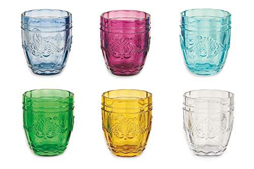 Villa d'Este Home Tivoli 2405610 Set Syrah Bicchieri Acqua, Vetro, Multicolore