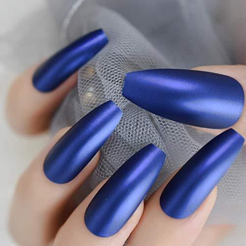 Wangguifu À La Mode Long Ballet Faux Ongles Gommage Diamant Bleu Gommage Surface Dame Suprême Long Artificielle Faux Ongles Pré-Conception 24