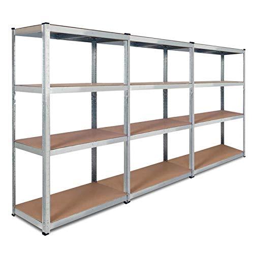 IDMarket - Lot de 3 étagères modulables charges lourdes H. 150 CM 12 plateaux