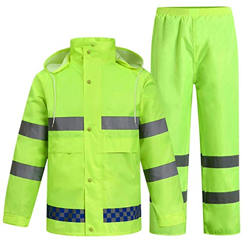 Chubasquero reflectante para hombre / mujer Chaqueta de lluvia de seguridad con capucha Impermeable Reutilizable Trabajo de emergencia Poncho de lluvia al aire libre para senderismo Pesca Ciclismo,