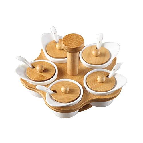 QLIGHA Juego De Tarros Giratorios para Condimentos con Tapa De Madera Y Bandeja Giratoria, 5 Tarros Y Cucharas De Cerámica para Especias, Lo Mejor para Mostrador De Cocina Y Restaurante