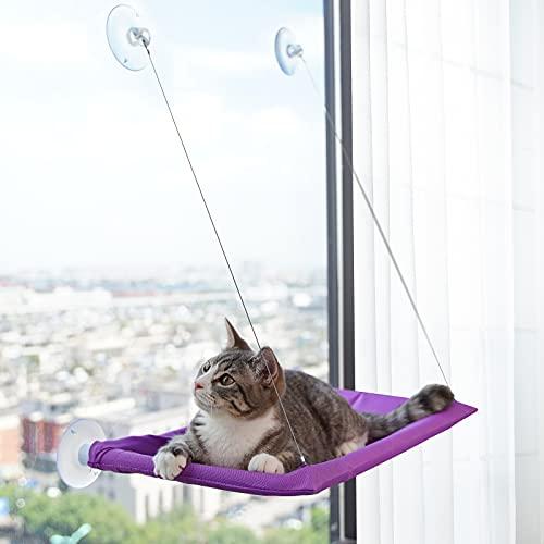VOOPET Hamaca para ventana de gato, segura y cómoda para interior y exterior, para gatos, ahorra espacio, asiento de descanso con ventana para gatos (2 ventosas adicionales)
