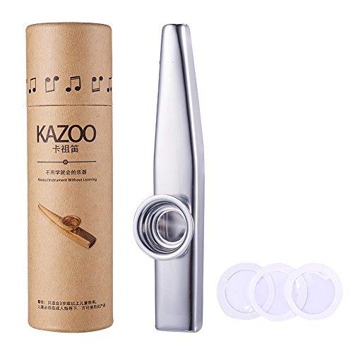 WANDIC Aluminiumlegierung Kazoo Und 3 Kazoo Membran Metall Kazoo mit Vintage Geschenkbox, Silber