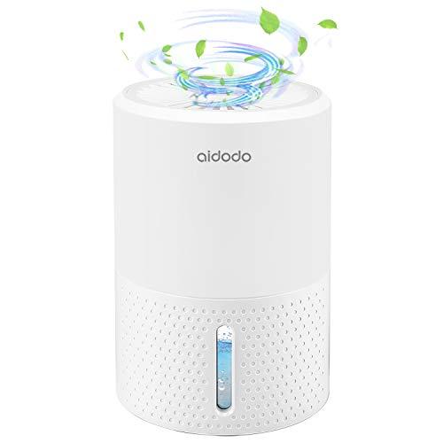 Aidodo Deshumidificador electrico Portátil 900ml Mini silencioso Deshumidificadores de Aire Compacto Inteligente Perfecto para Hogar Salón Habitación Oficina Blanco