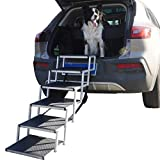 YEP HHO Dog Steps for Large Dog, Lightweight Aluminum Foldable Pet Ladder Ramp with Nonslip Surface for High Beds, Trucks, Cars and SUV, Supports 150-200 Lbs (6 Steps)