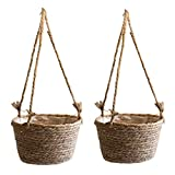JOELELI Cesti da appendere in paglia, vasi da fiori intrecciati, fatti a mano, per interni ed esterni, piante grasse e piccole piante (primarie)