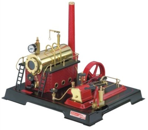 Wilesco 21 - Dampfmaschine D21 500 ml Kesselinhalt, inkl. Sicherheits-Ventil, Manometer und Dom-Pfeife