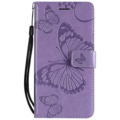 Yiizy Handyhüllen für Huawei Honor 8A Ledertasche, Schmetterling 3D Stil Lederhülle Brieftasche Schutzhülle für Huawei Honor Play 8A hülle Silikon Cover mit Magnetverschluss Kartenfächer (Violett)