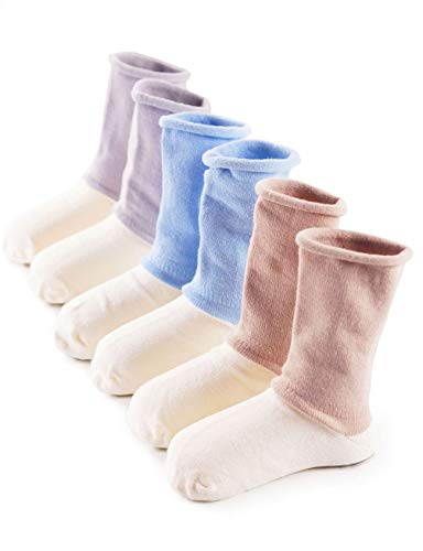 Baba Mate Baby Infant Toddler Boys' Organic Cotton Socks with Non-binding Tops Seamless Toe, Blue Gray Brown, 6-12 Months (3 Pack)