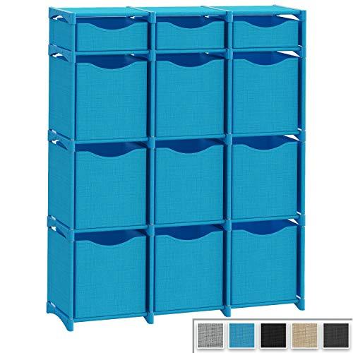 12 Cube Organizer | Set of Storage Cubes Included | DIY Closet Organizer Bins | Cube Organizers and Storage Shelves Unit | Closet Organizer for Bedroom, Playroom, Livingroom, Office, Dorm (Aqua Blue)