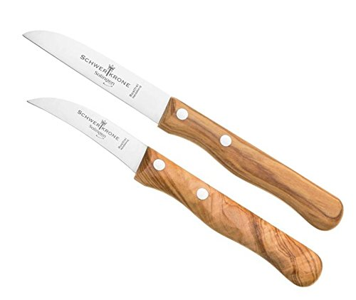 Schwertkrone Juego de cuchillo para pelar y pelar Solingen Germany, cuchillo de fruta, cuchillo para verduras, mango de madera de olivo, 15,5 cm curvado, 17,5 cm, pico para pájaros, recto.