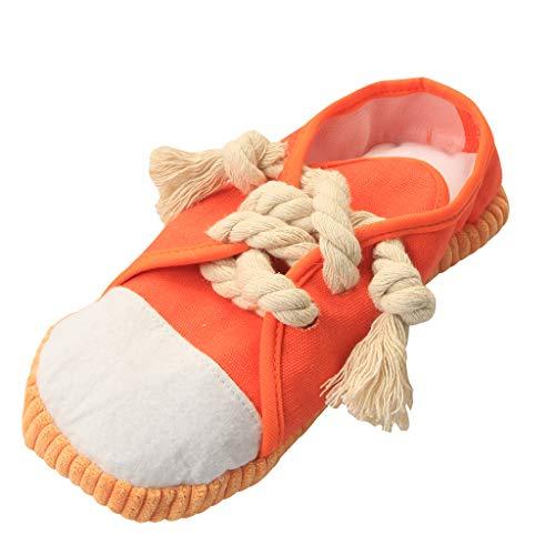 IFOYO Kauspielzeug, sicher und langlebig, mit Quietschelement, Mini-Sneaker, Schuhe für Welpen, kleine mittelgroße Hunde, Vögel, Katzen, Frettchen, Kaninchen, Meerschweinchen und kleine Tiere, Orange